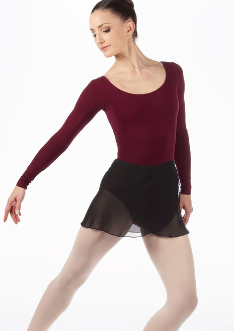Move Chloe Wrap Skirt Black front. [Black]