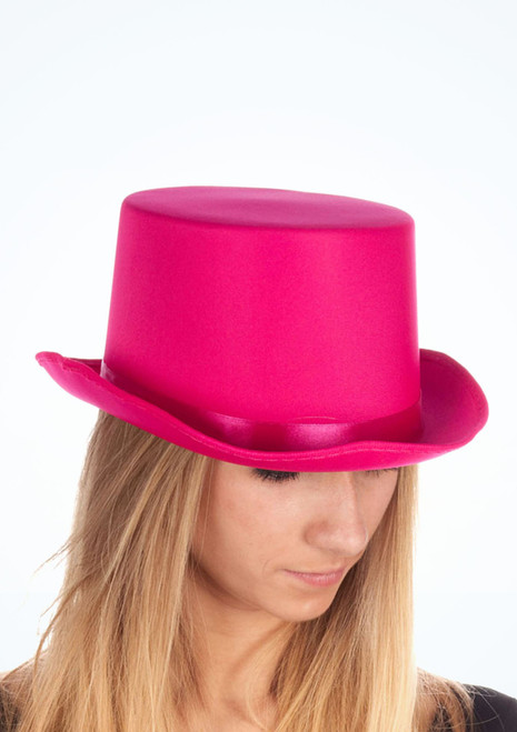 Satin Top Hat Pink. [Pink]