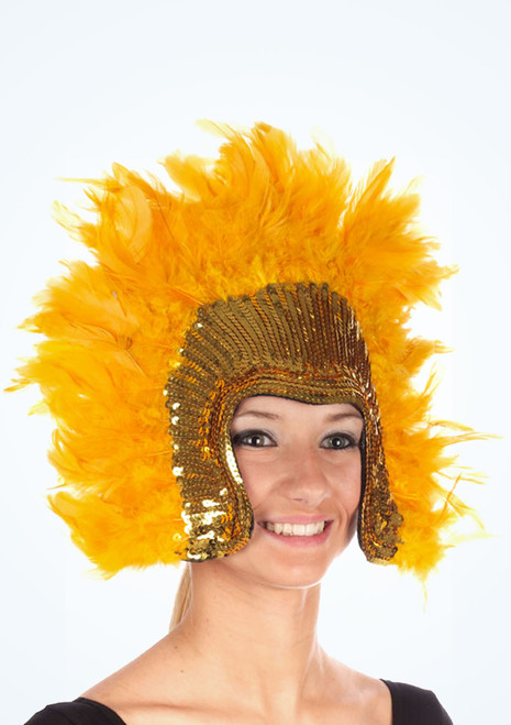Deluxe Feather Headdress Gold. [Gold]