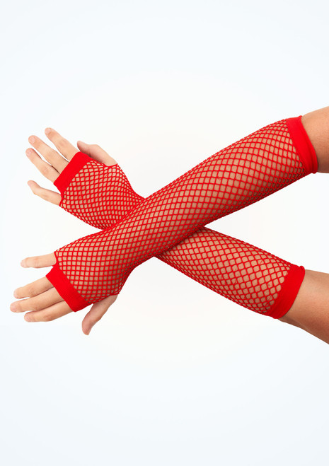 Long Fishnet Gloves Red.