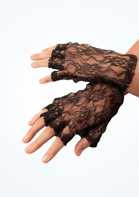 Lace Fingerless Gloves Black. [Black]