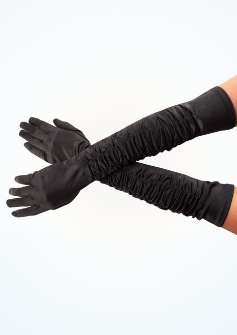 Satin Theatrical Gloves Black. [Black]