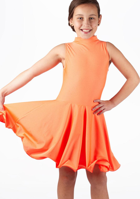 Move Girl's Adrina Latin Dress Orange. [Orange]