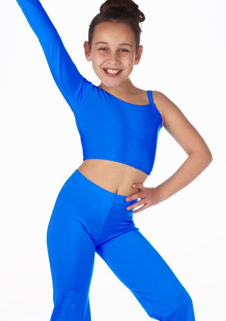 Alegra Girls Shiny Echo Top Blue front. [Blue]