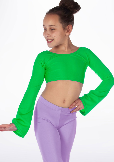 Alegra Girls Shiny Hanae Dance Top Green front. [Green]