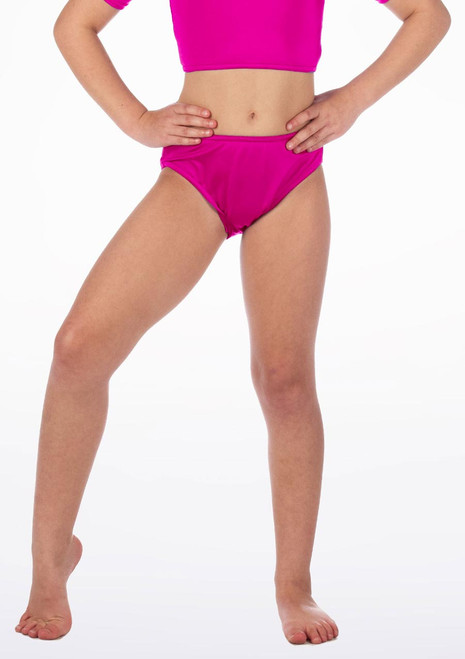 Alegra Girls Shiny Dance Briefs Pink front. [Pink]
