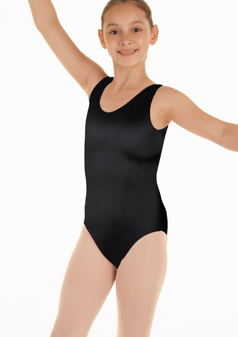 Alegra Girls Shiny Margot Leotard Black. [Black]