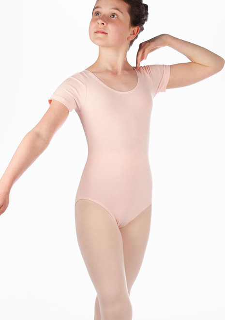 Alegra Basic Girls Short Sleeved Leotard Pink. [Pink]