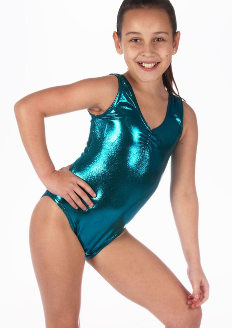 Alegra Girls Metallic Senna Leotard Blue front. [Green]