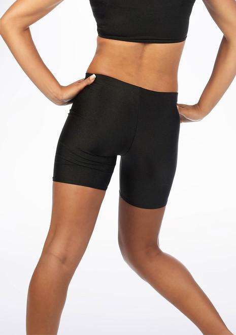 Alegra Girls Shiny Cycling Shorts Black back. [Black]