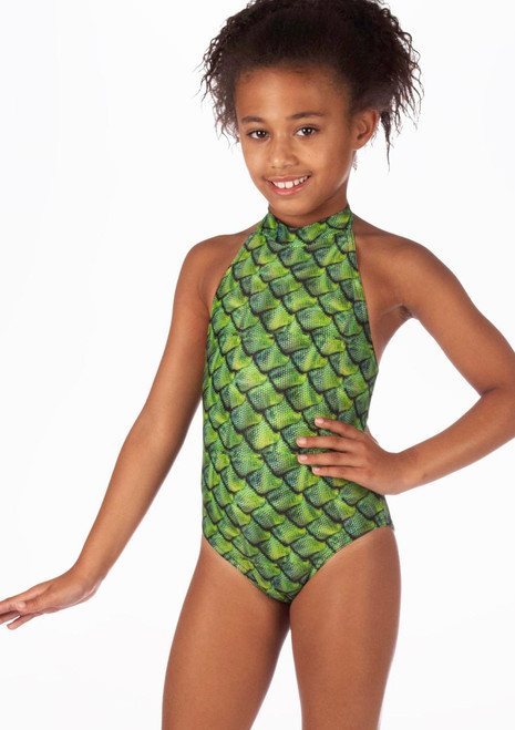 Alegra Girls Patterned Nola Leotard front. [Patterned]