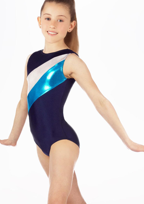 Alegra Girls Nova Sleevless Leotard Blue front. [Blue]