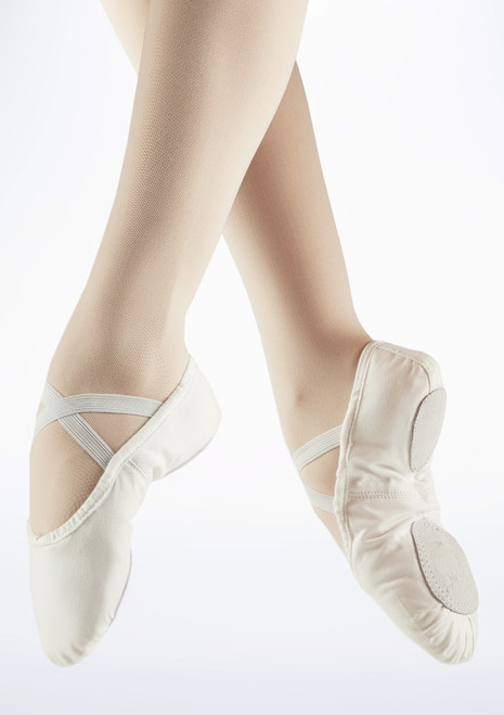 Move Split Sole Canvas Ballet Shoe White. [White]