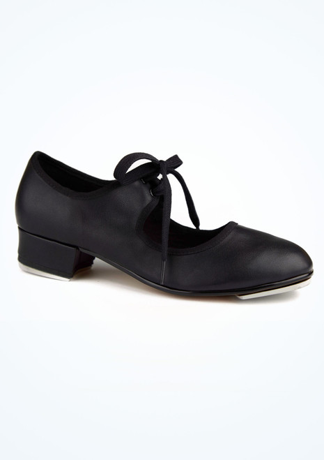 Alegra Basic Tie Front Tap Shoe Black main image. [Black]