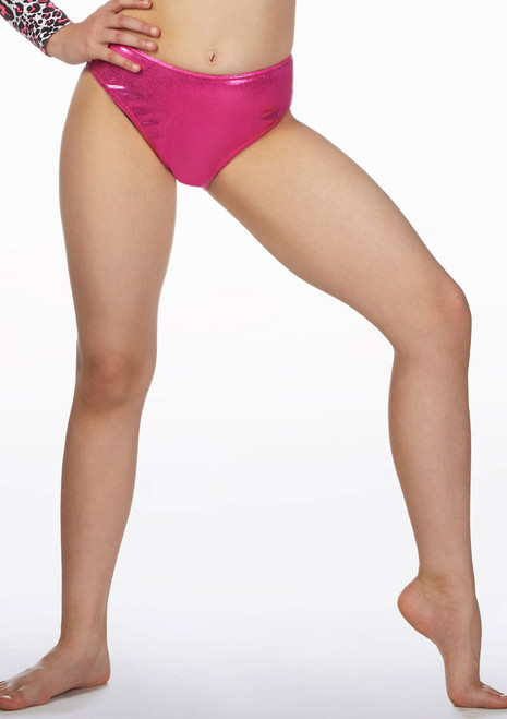Alegra Girls Metallic Dance Briefs Pink front. [Pink]