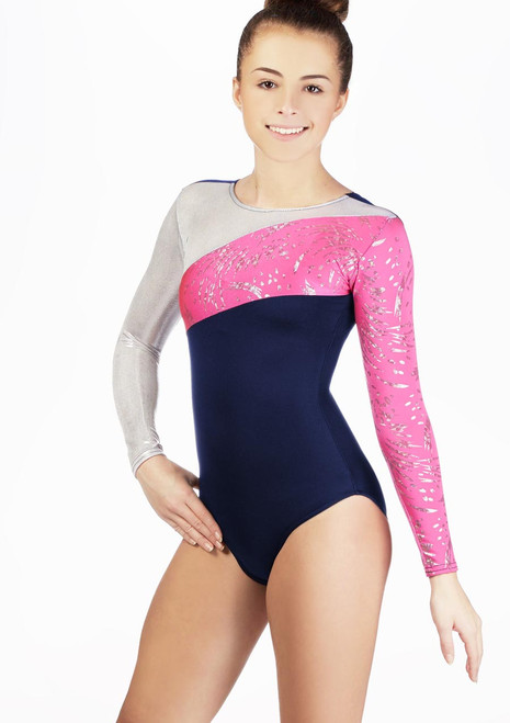 Alegra Girls Cosmos Long Sleeve Leotard Blue. [Blue]