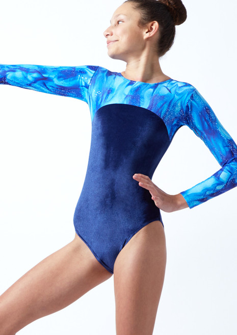 Tappers & Pointers GYM23 Long Sleeved Gymnastics Leotard Blue Front-1T [Blue]