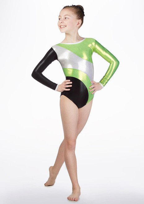 Tappers & Pointers GYM42 Long Sleeved Gymnastics Leotard Green front. [Green]