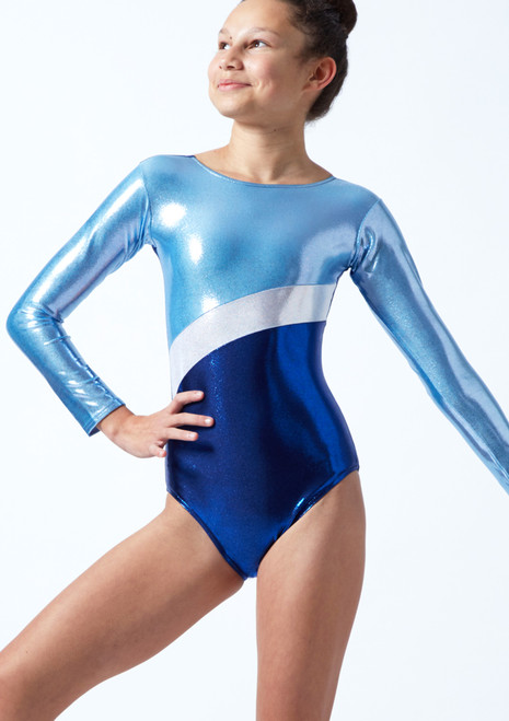 Tappers & Pointers GYM10 Long Sleeved Gymnastics Leotard Blue Front-1T [Blue]