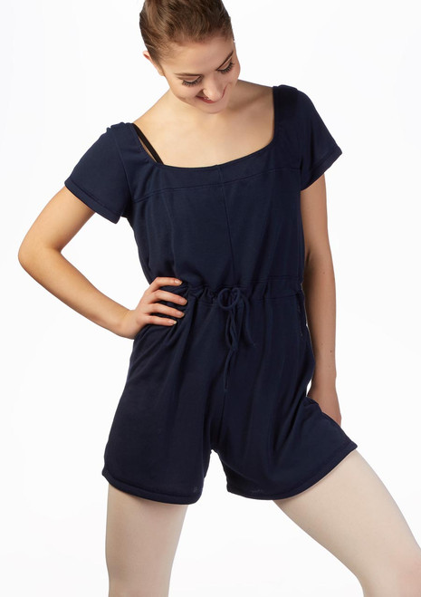 Ballet Rosa Romper Warm Up Suit Blue front. [Blue]