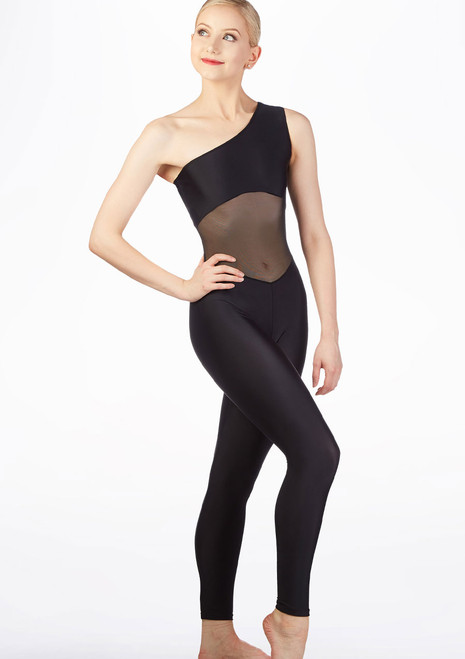 Ballet Rosa One Shoulder Unitard Black front. [Black]