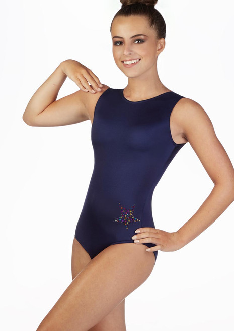 Alegra Girls Juno Sleeveless Gymnastics Leotard Blue front. [Blue]