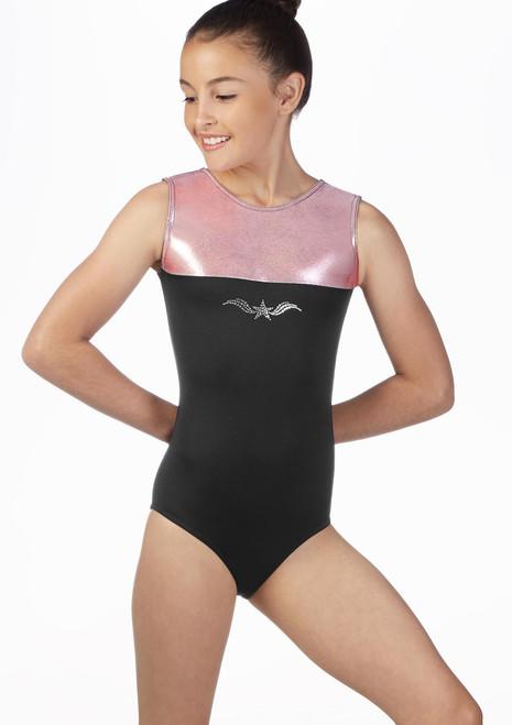 Alegra Girls Spirit Sleeveless Gymnastics Leotard Pink front. [Pink]