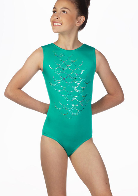 Alegra Girls Mermaid Sleeveless Gymnastics Leotard Green front. [Green]