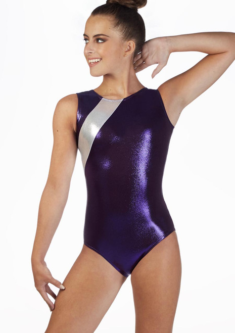 Alegra Girls Siren Sleeveless Gymnastics Leotard Purple front. [Purple]