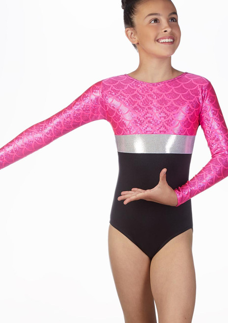 Alegra Girls Hydra Long Sleeve Gymnastics Leotard Multi-Colour front. [Multi-Colour]