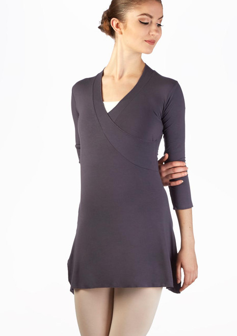 Ballet Rosa Wrap Effect Ballet Dress Grey front. [Grey]