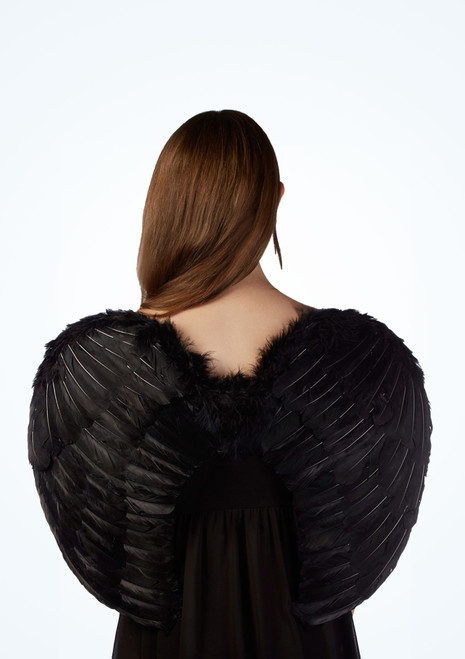 Large Feather Angel Wings Black main image. [Black]