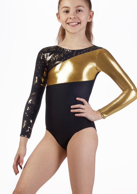 Alegra Girls Jupiter Long Sleeve Gymnastics Leotard Black-Gold front. [Black-Gold]