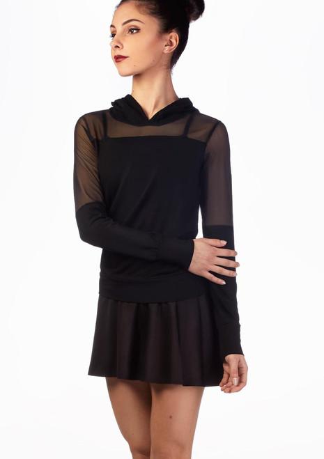 Ballet Rosa Supersoft Mesh Hoodie Black front. [Black]