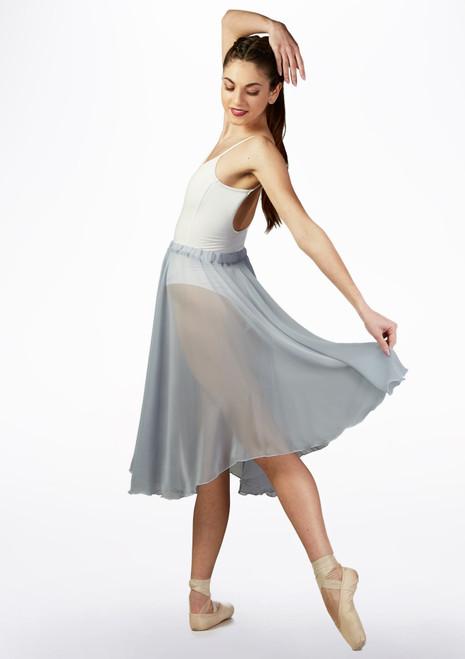 Basilica Mid Length Chiffon Skirt Grey front. [Grey]