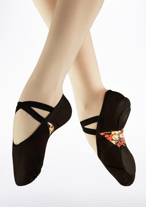Basilica Split Sole Ballet Shoe Black front. [Black]