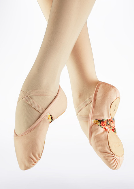 Basilica Split Sole Ballet Shoe Pink front. [Pink]