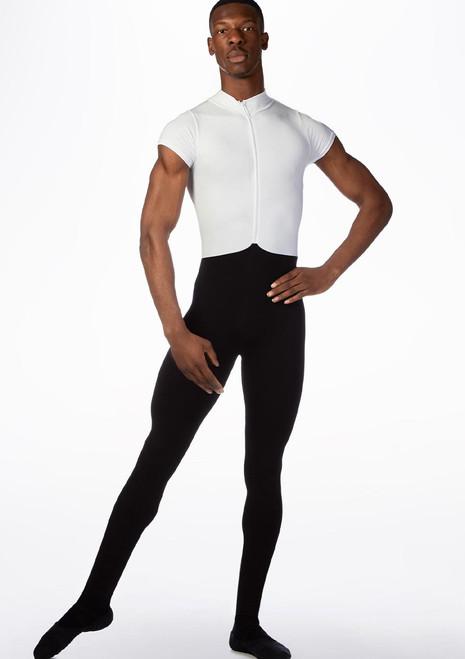 Ballet Rosa Mens Double Toned Short Sleeve Unitard Black-White front. [Black-White]