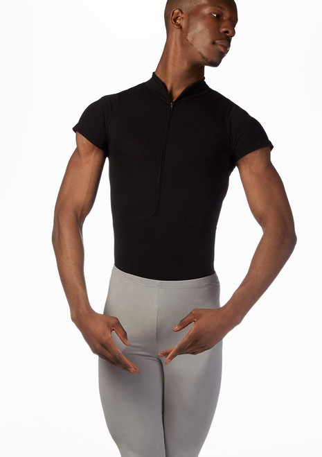 Ballet Rosa Mens Short Sleeved Zip Up Leotard White front. [White]