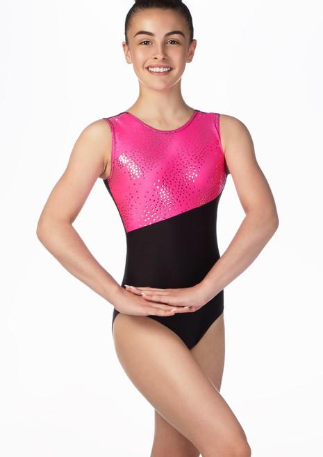 Alegra Gerie Gymnastics Leotard Black-Pink front. [Black-Pink]