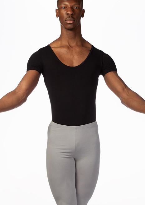 Ballet Rosa Mens Short Sleeve Leotard Black front. [Black]