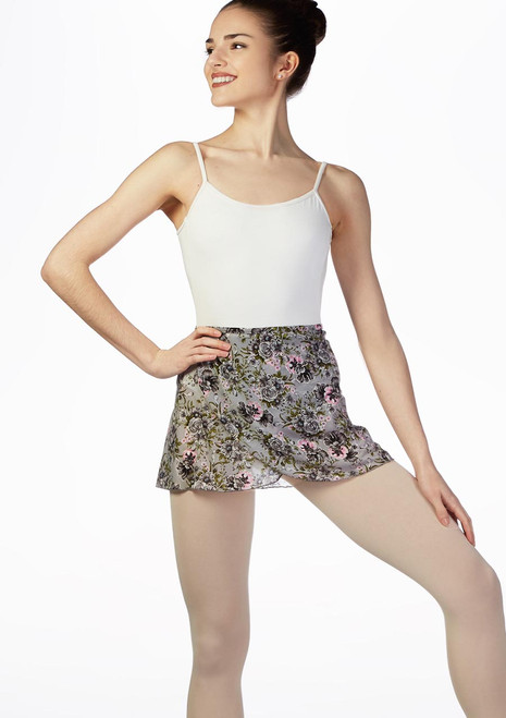 Move Floral Wrap Dance Skirt Grey front. [Grey]