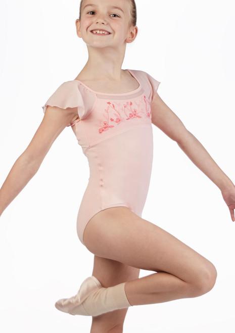 Mirella Girls Flutter Sleeve Leotard* Pink front. [Pink]