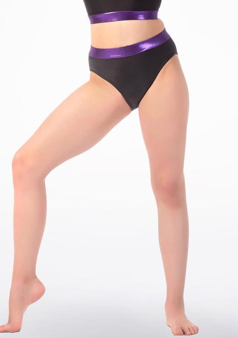 Alegra Fuse Girls High Waist Briefs Black-Purple front. [Black-Purple]