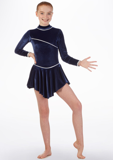 Tappers & Pointers Long Sleeve Skirted Dance Leotard Blue front. [Blue]