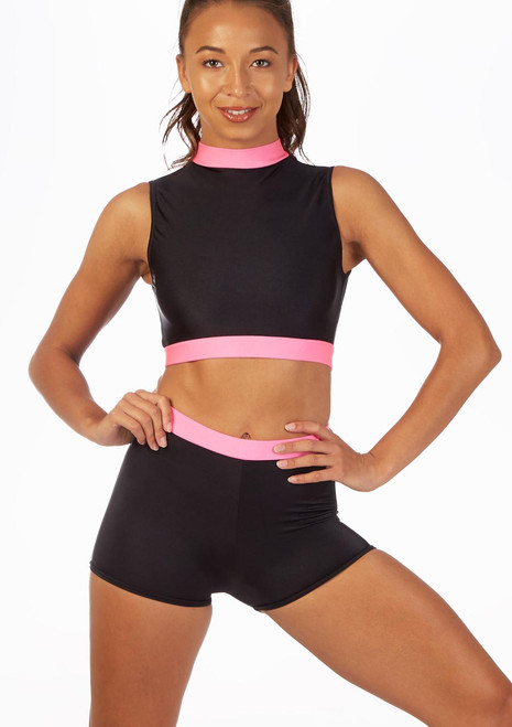 Alegra Fuse Sleeveless Crop Top Black-Pink front. [Black-Pink]