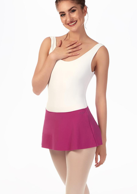 Grishko Short Pull On Ballet Skirt Pink front. [Pink]