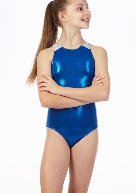 Alegra Racerback Gymnastics Leotard Blue front. [Blue]
