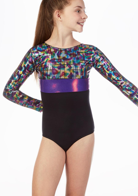 Alegra Rave Long Sleeve Gymnastics Leotard Black-Purple front. [Black-Purple]