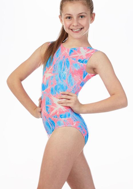 Alegra Bubblegum AOP Gymnastics Leotard Blue-Pink front. [Blue-Pink]